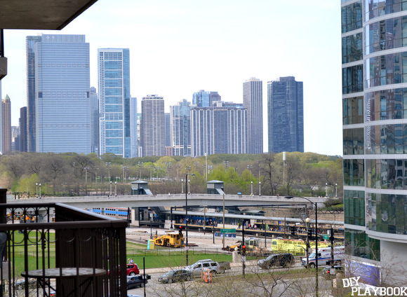 chicago skyline view - visible from our newly decorated balcony!