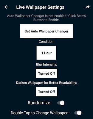 Auto wallpaper changer settings