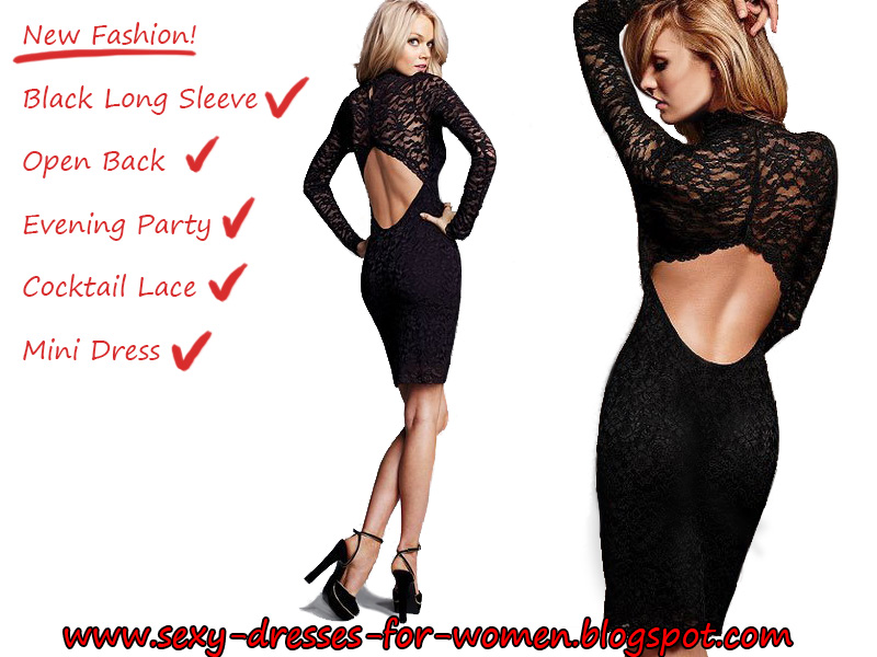 796264cec05 Sexy Black Dress Cocktail Dresses Women Sexy Black Long Sleeve Open Back  Evening Party Cocktail Lace