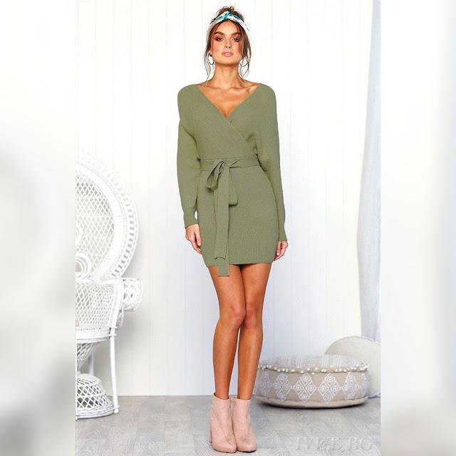 Μακρυμάνικο κοντό  πράσινο  φόρεμα ZAMIA OLIVE