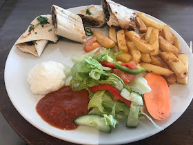 wrap, chips and salad