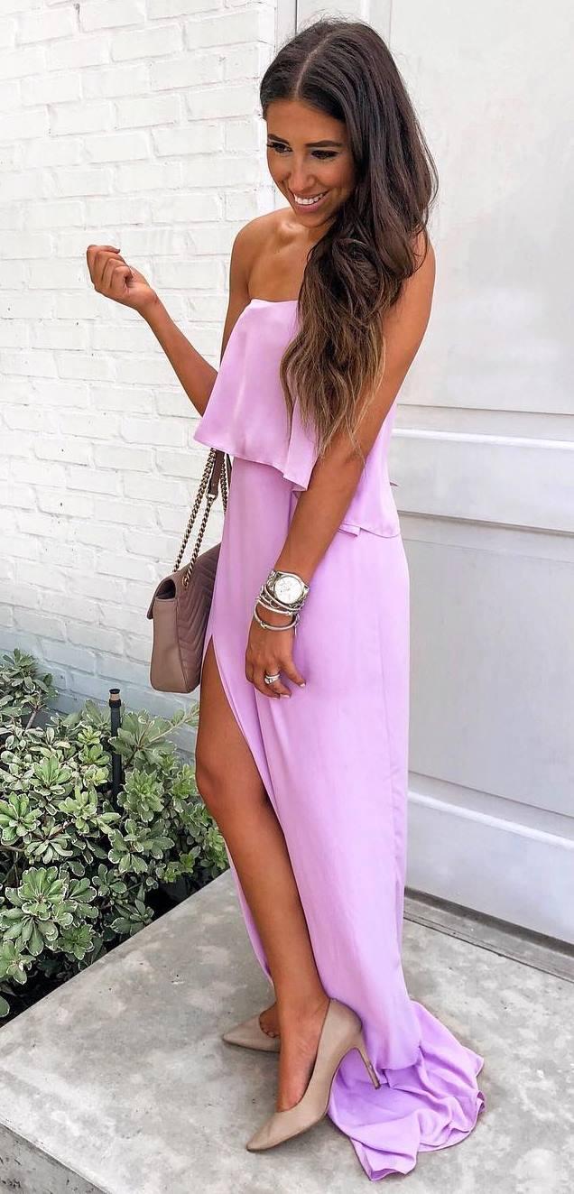 elegant summer outfit / maxi dress + bag + nude heels