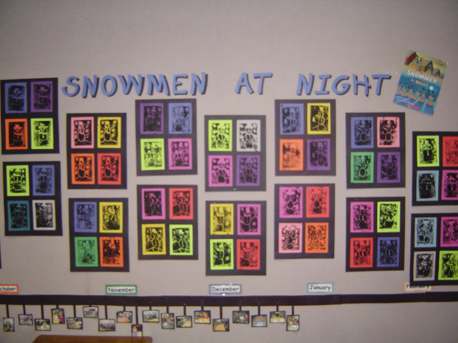 Mrs T S First Grade Class Snowmen At Night
