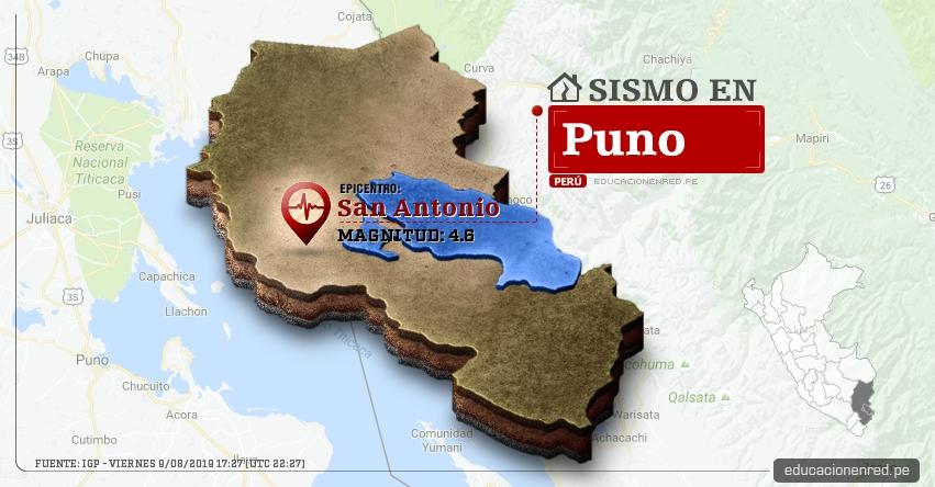 Temblor en Puno de Magnitud 4.6 (Hoy Viernes 9 Agosto 2019) Sismo - Epicentro - San Antonio - IGP - www.igp.gob.pe