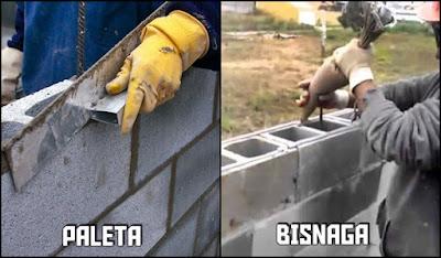 paleta e bisnaga para assentar blocos de concreto