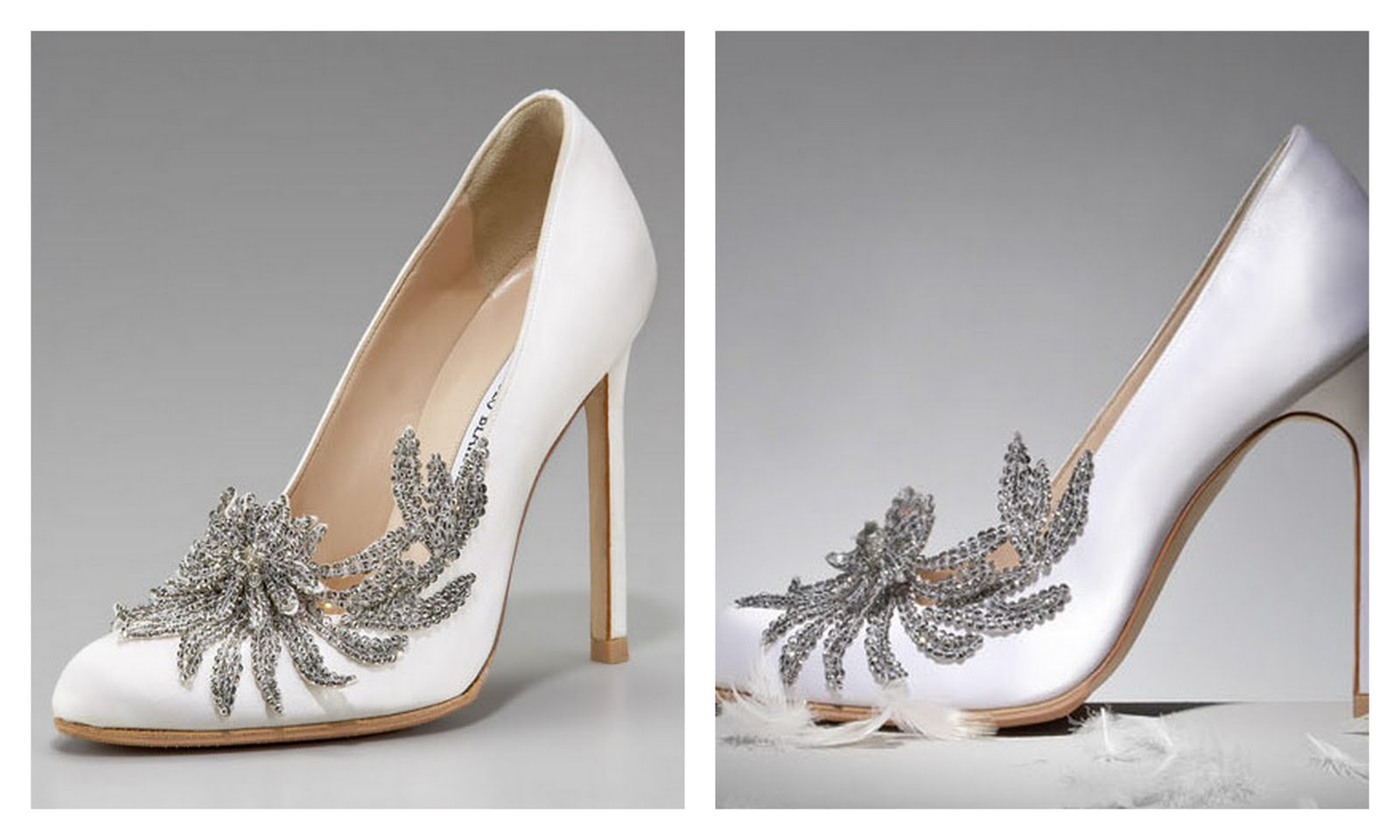 Neiman Marcus ; Bella Twilight White Pumps Bridal Shoes, Manolo Blahnik,  Crystal Embellished Vamp Stiletto High Heel