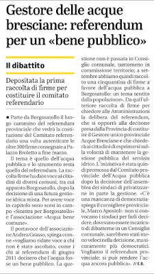 Andrea Grasso: Sinistra Per Borgosatollo scende in piazza a difesa dell'acqua pubblica