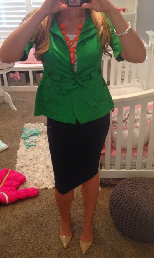 Navy Skirt, Green Jacket and Orange Bauble Necklace