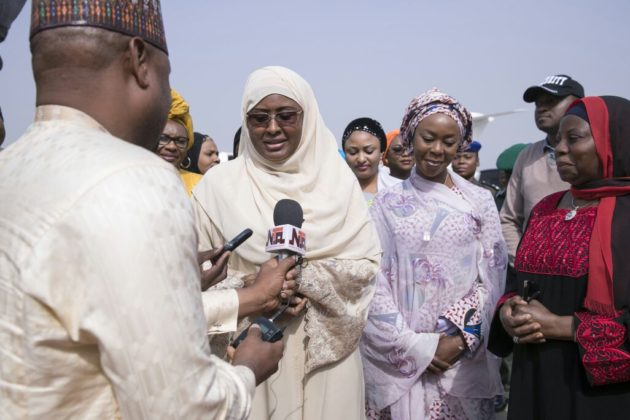 aisha Buhari returns to Nigeria from Umrah