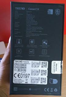 Techno Camon CX -carton showing specifications-sooloaded.net