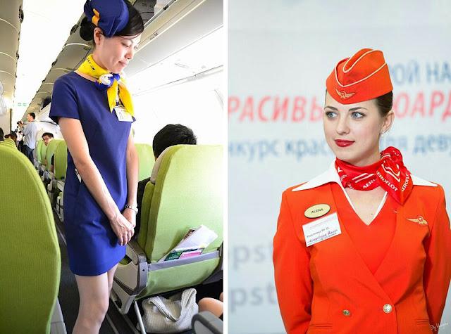 Стюардессы в униформе с шейными платками