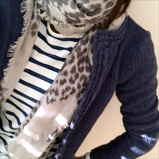 My Midlife Fashion, H&M breton top, massimo dutti leopard print scarf, laura ashley edge to edge stitch jacket, zara cigarette pants, golden goose superstar trainers