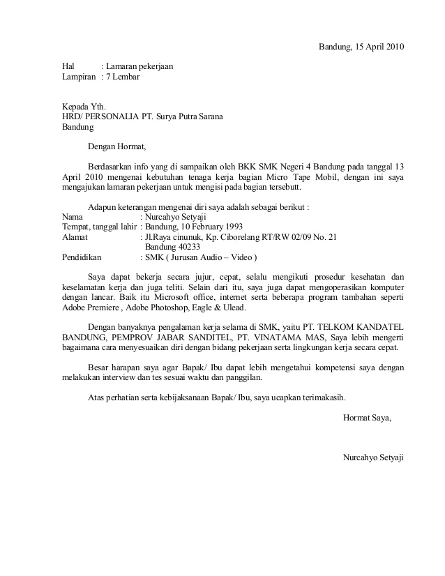 Contoh Application Letter Fresh Graduate Bahasa Inggris