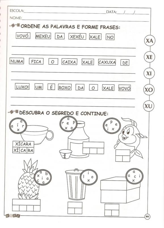 Atividades De Alfabetização Com A Letra X Só Escola