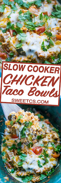 SLOW COOKER CHICKEN TACO BOWLS RECIPE