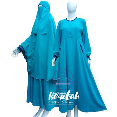 Baju Gamis Syar'i Wolfis Biru Tosca Tsaqifah