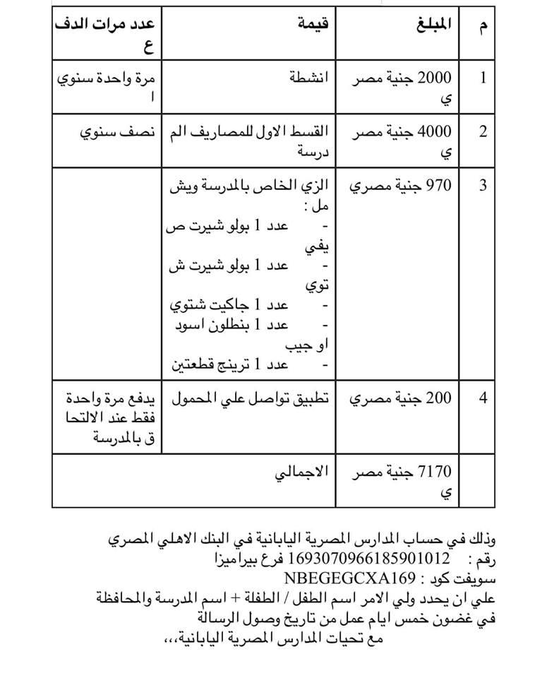 مصروفات المدارس اليابانية في مصر
