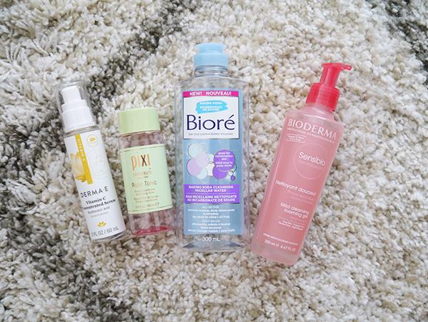 Derma E serum, Biore micellar water, Bioderma cleanser, Pixi rose toner