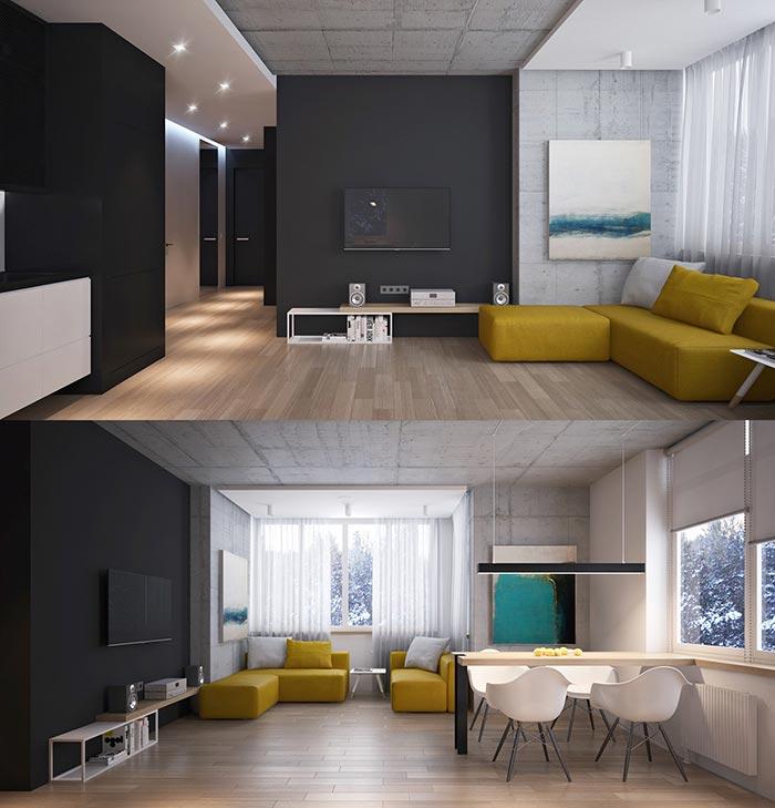 siyah duvar renkli mobilya oturma odası
