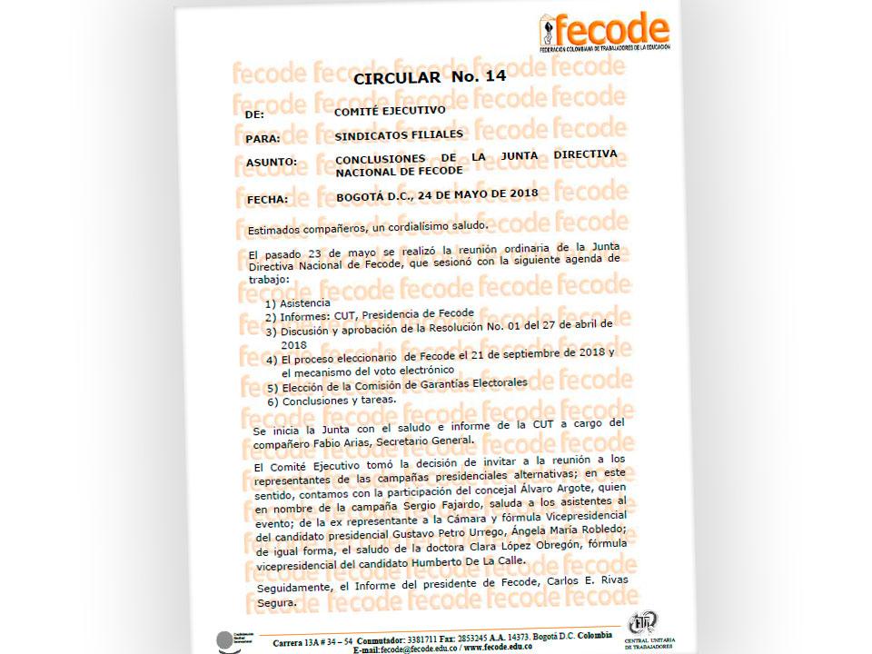 CONCLUSIONES DE LA JUNTA DIRECTIVA NACIONAL DE FECODE