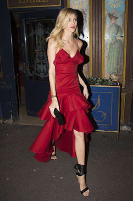 Devon Windsor Leaving Restaurant in Paris