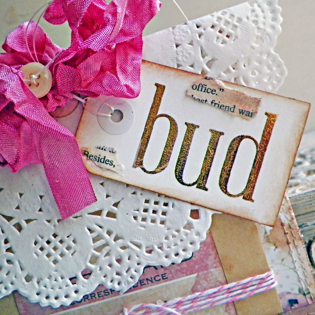 Pocket Tag Tutorial by Lisa Novogrodski for BoBunny using the Garden Journal Collection 02