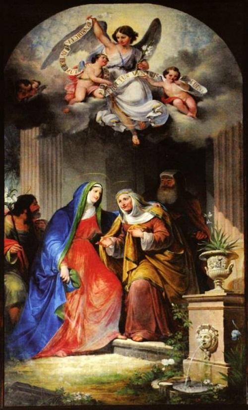 Visitação, pintura de António Manuel da Fonseca na Igreja de S. João Baptista.