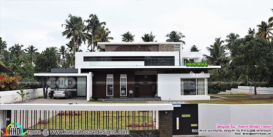 Front elevation of work finished house in Kerala