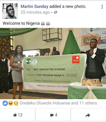 NONSENSE: Is Only In Nigeria, The Best Graduating Student Will Be Offer 10k [Photo]
