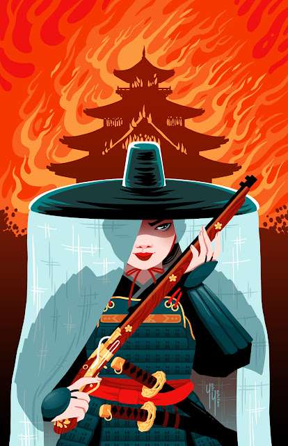 An illustration of a samurai in front of a burning pagoda, looking intense