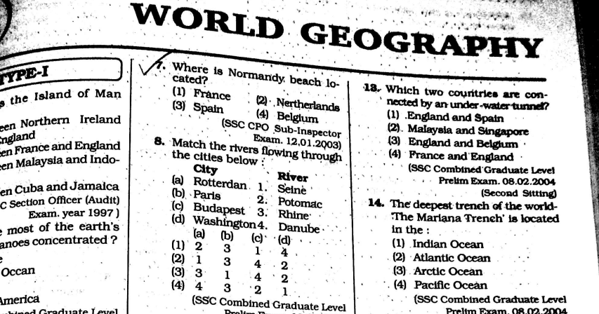 Download KIRAN World Geography Previous Questions for SSC