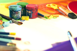 art supplies with canvas