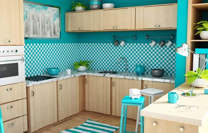 turkuaz neşeli mutfak duvar kağıtları