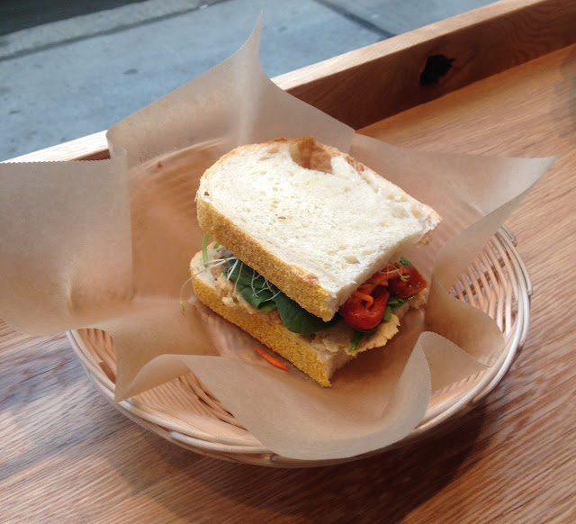 Hummus, Spinach, Tomato, Carrots, Sprouts Sandwich - Flour Bakery