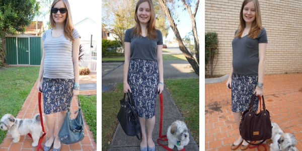 3 ways to wear a blue lace textured pencil skirt with grey tees | awayfromblue