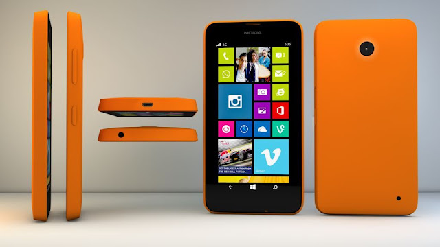 nokia lumia 630 colore arancione nelle varie visuali