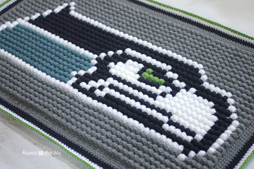 Crochet Bobble Stitch Pixel Blanket Seattle Seahawks