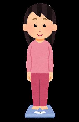 体重計に乗る人のイラスト(女性)