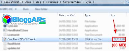 Hasil Mengecilkan Ukuran File Video