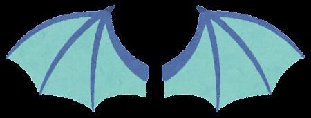 青いドラゴンの翼のイラスト