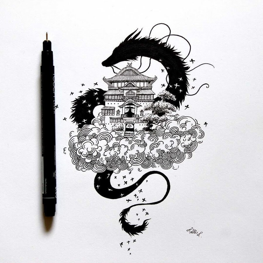 02-Dragon-Spirited-Away-Tímea-Tellér-Ink-Black-and-White-Illustrations-www-designstack-co