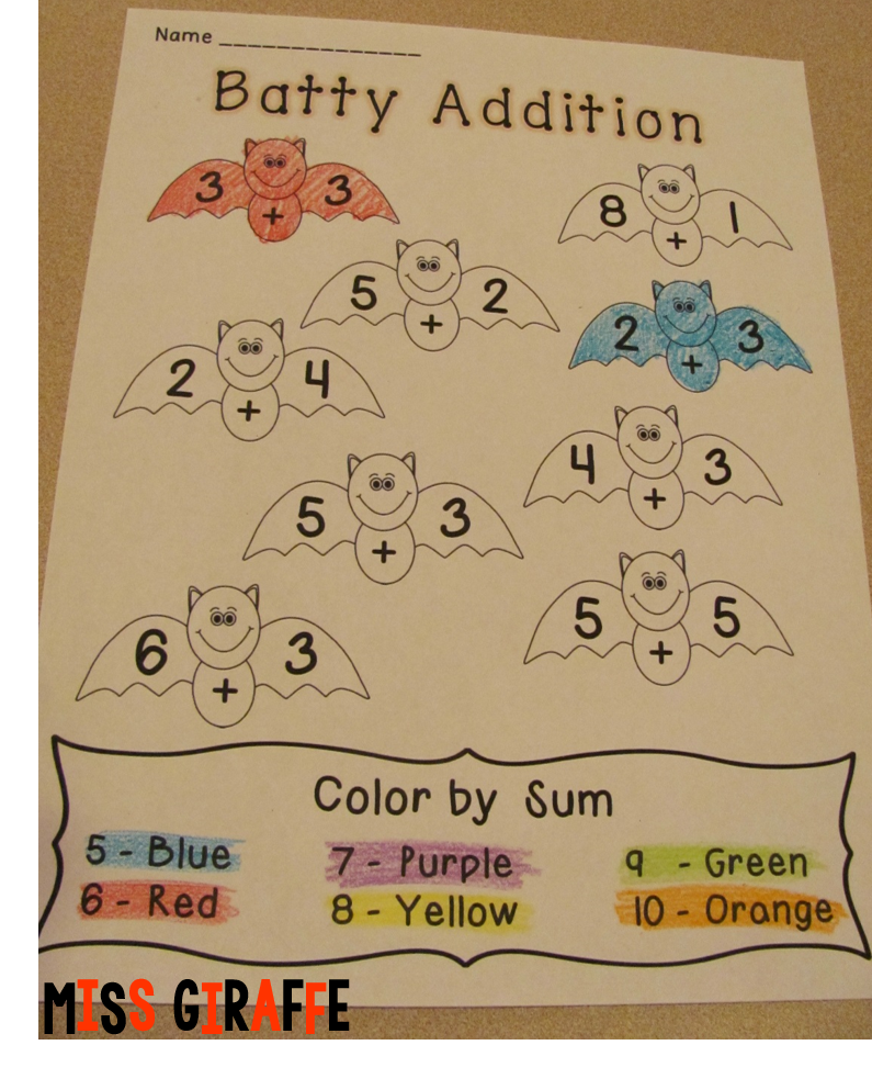 Halloween math activities like these bats addition worksheets and more