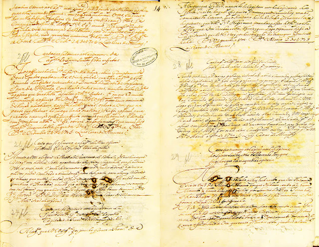 CARTAS diversas  compiladas, datadas de 1705 a 1710. Acervo Arquivo Nacional.