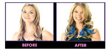 secret color electric blue hair extensions before/after