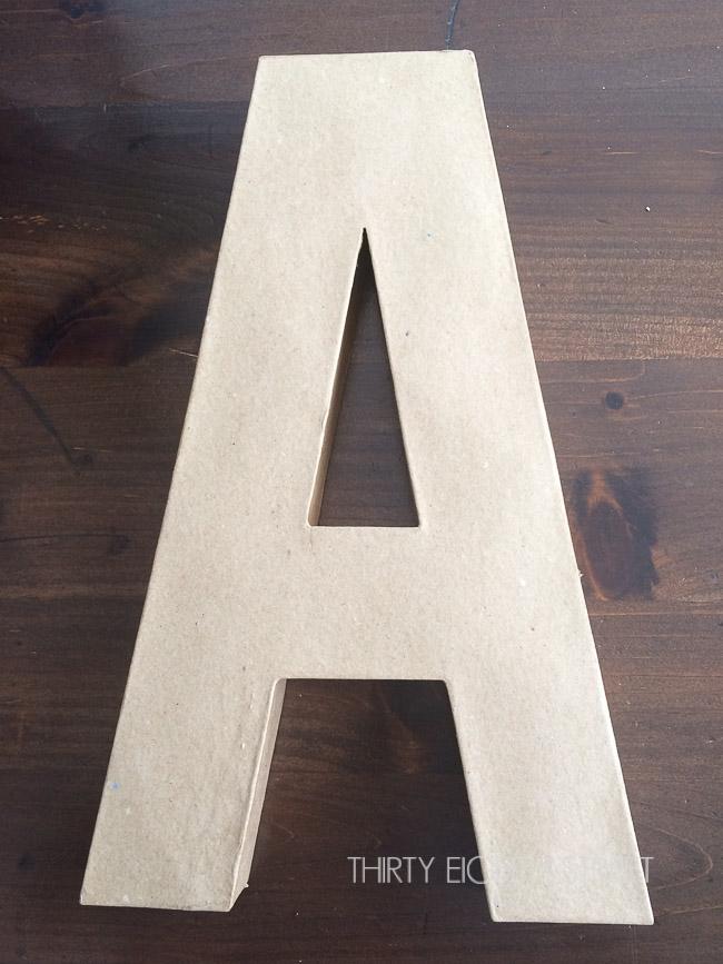 painting letter mache, buy paper mache letters, large paper mache letters, diy