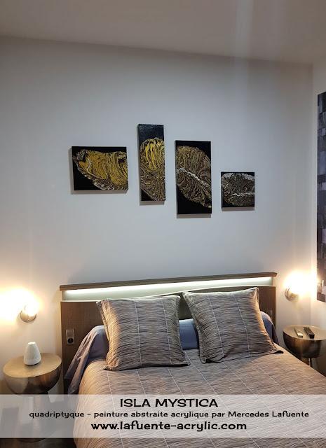 Image de 4 tableaux, quadyptique. Peinture acrylique fluide. Décoration de chambre à coucher. Peinture abstraite.