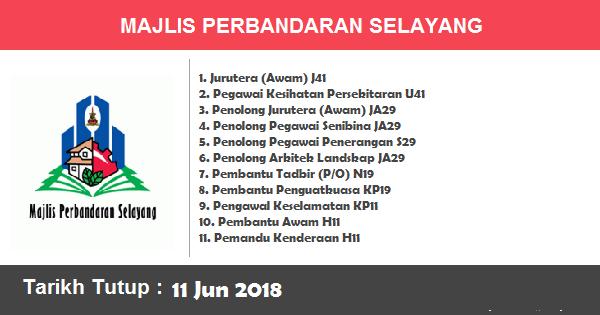 Jobs in Majlis Perbandaran Selayang (11 Jun 2018)
