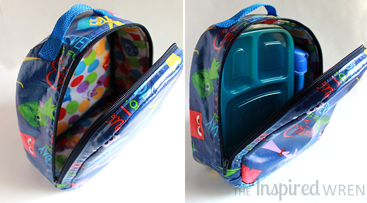 "Perfect size! | Lunch Box/Bag sewn in Laminated ""Inside Out"" Cotton 