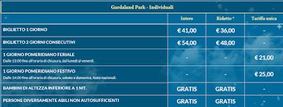 Tariffe Gardaland 2019