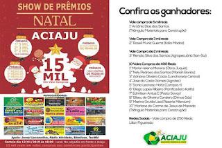Campanha de Natal SHOW DE PRÊMIOS ACIAJU sorteia 15 mil reais em vale compras